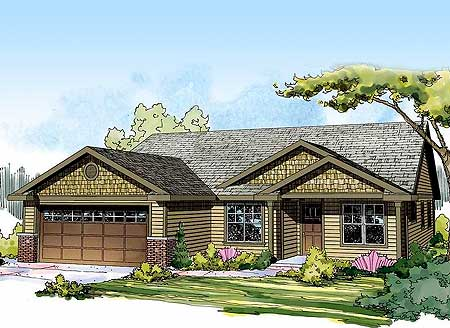 Starter or empty nester craftsman home plan 72679da for Empty nester home plans designs