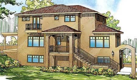 southwestern home plan for sloping lot 72683da
