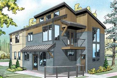Townhouse plan with rear garage 72732da 1st floor for Narrow house plans with garage in back