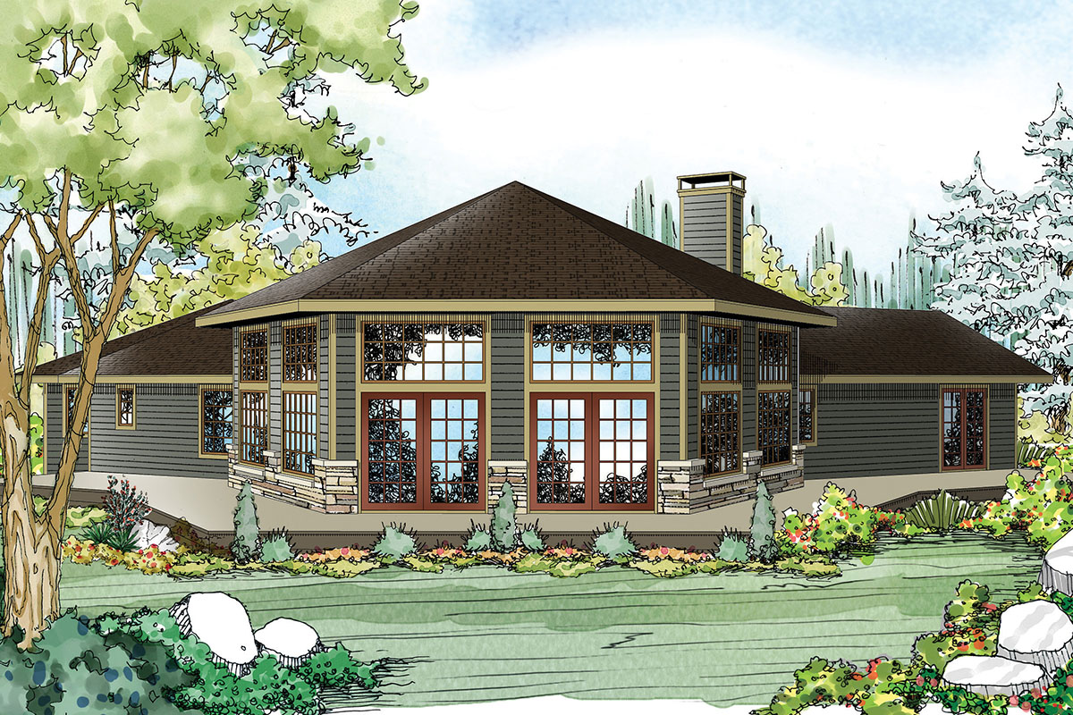 Contemporary ranch with hexagonal core 72742da for Contemporary ranch plans