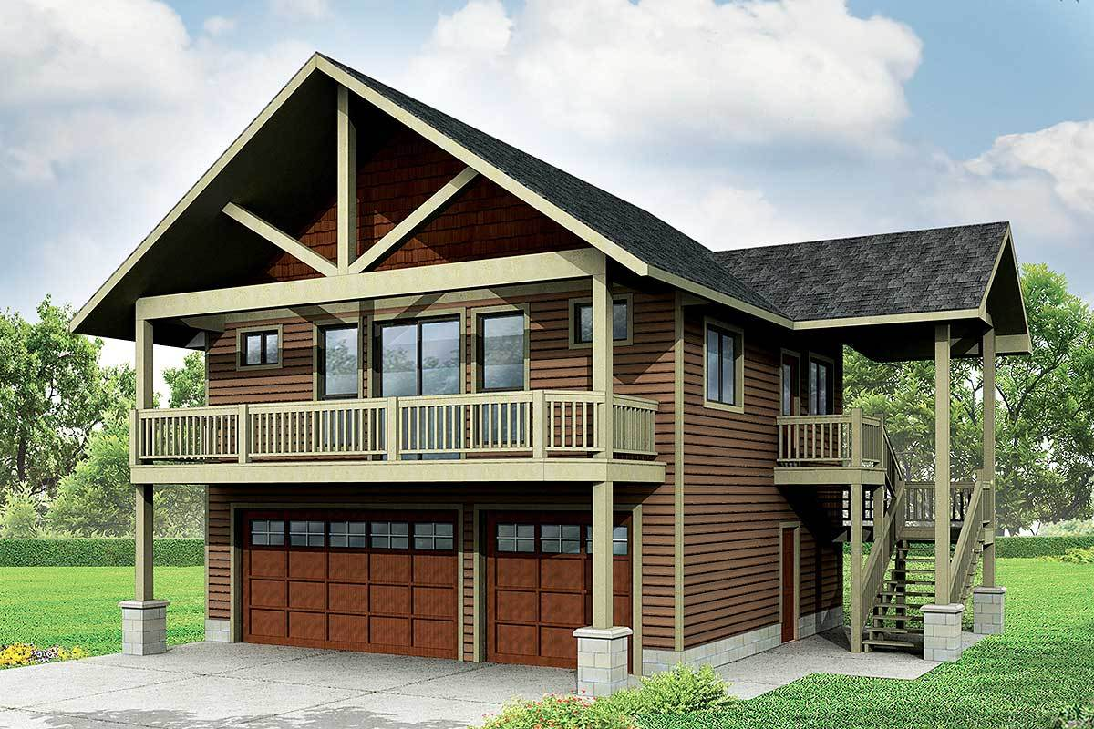 Garage with apartment and vaulted spaces 72768da for Large garage plans with living space