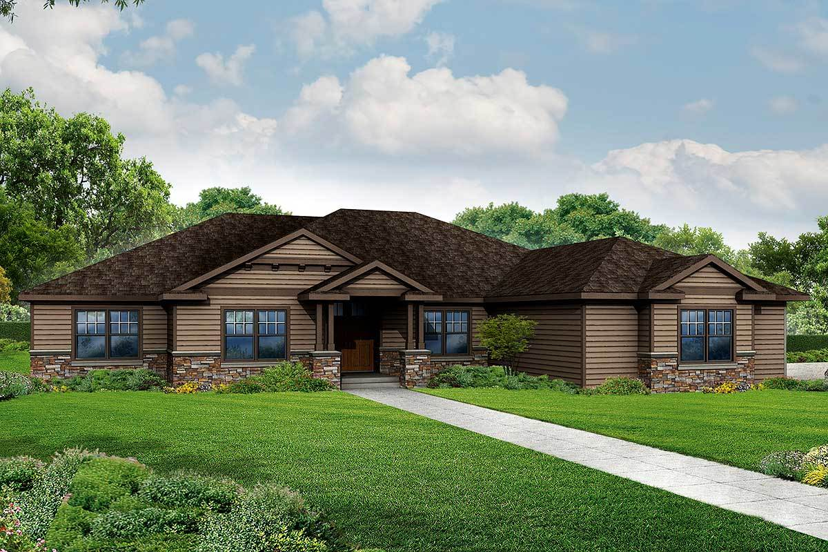 3 bed craftsman style ranch home plan 72801da for Craftsman style bed plans