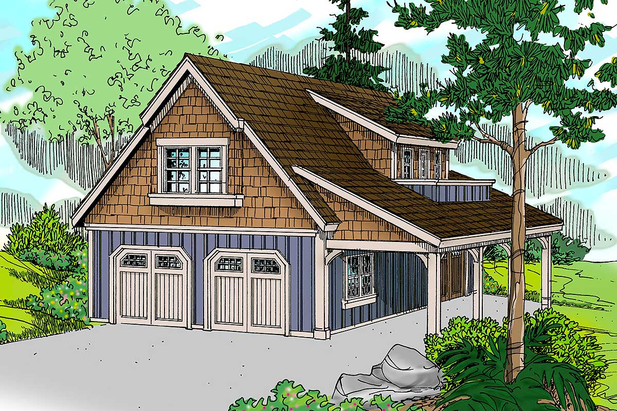 Craftsman Garage with Living Area and Shop - 72816DA ...