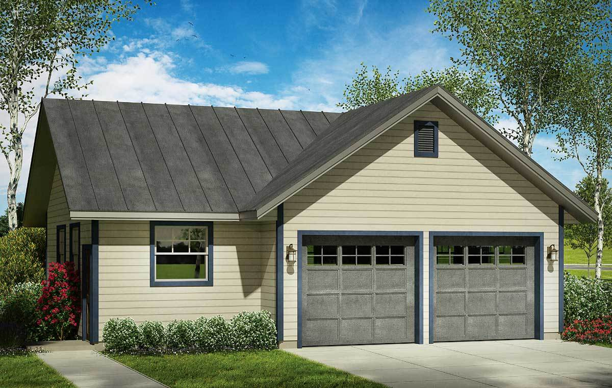 Two Car Garage Plans: 2 Car Garage Plan With Shop - 72821DA