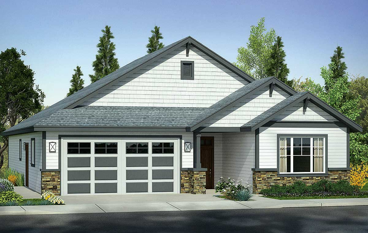 3 gabled country craftsman house plan 72829da for Country craftsman