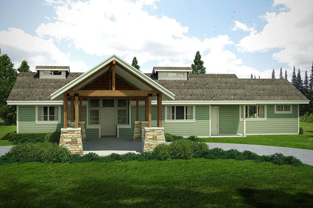 Rustic northwest ranch house plan 72843da for Rustic ranch house plans