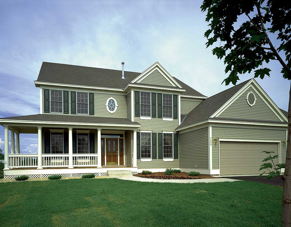 Farmhouse house plan with wrap around porch 73063hs for 2 story house plans with porches