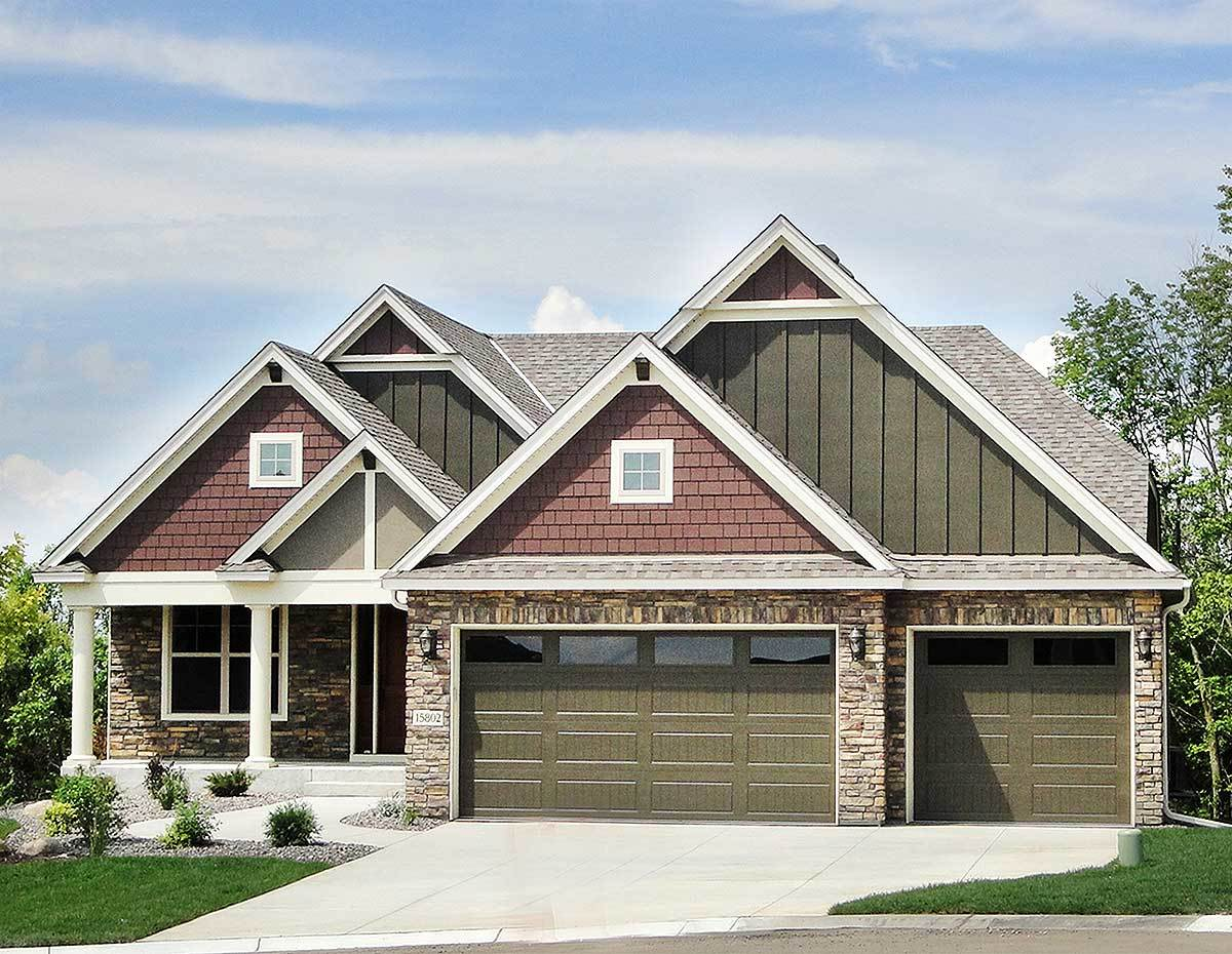 Exclusive 3 bed craftsman for the sloping lot 73350hs for Architecturaldesigns com house plan 56364sm asp