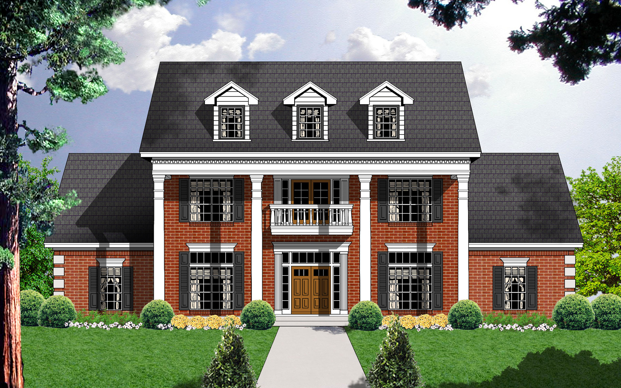 Style and luxury 7409rd 1st floor master suite butler for Southern colonial house plans
