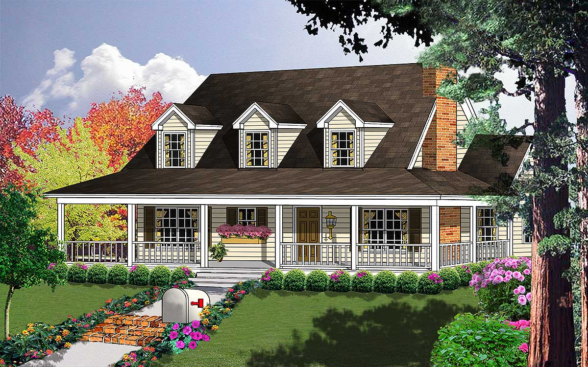 Porches galore 7410rd 1st floor master suite bonus for Country and farmhouse home plans