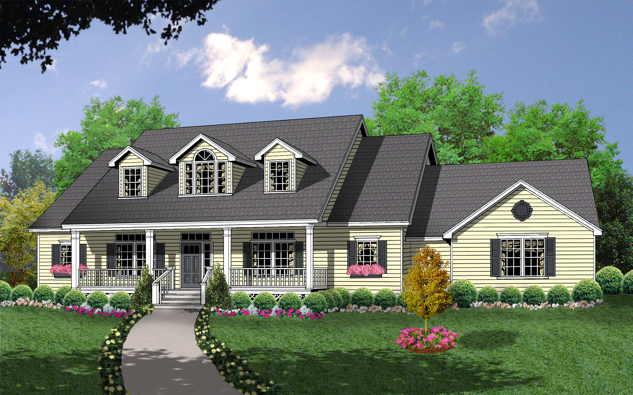 Bonus space over side entry garage 7423rd 1st floor for Country farmhouse plans