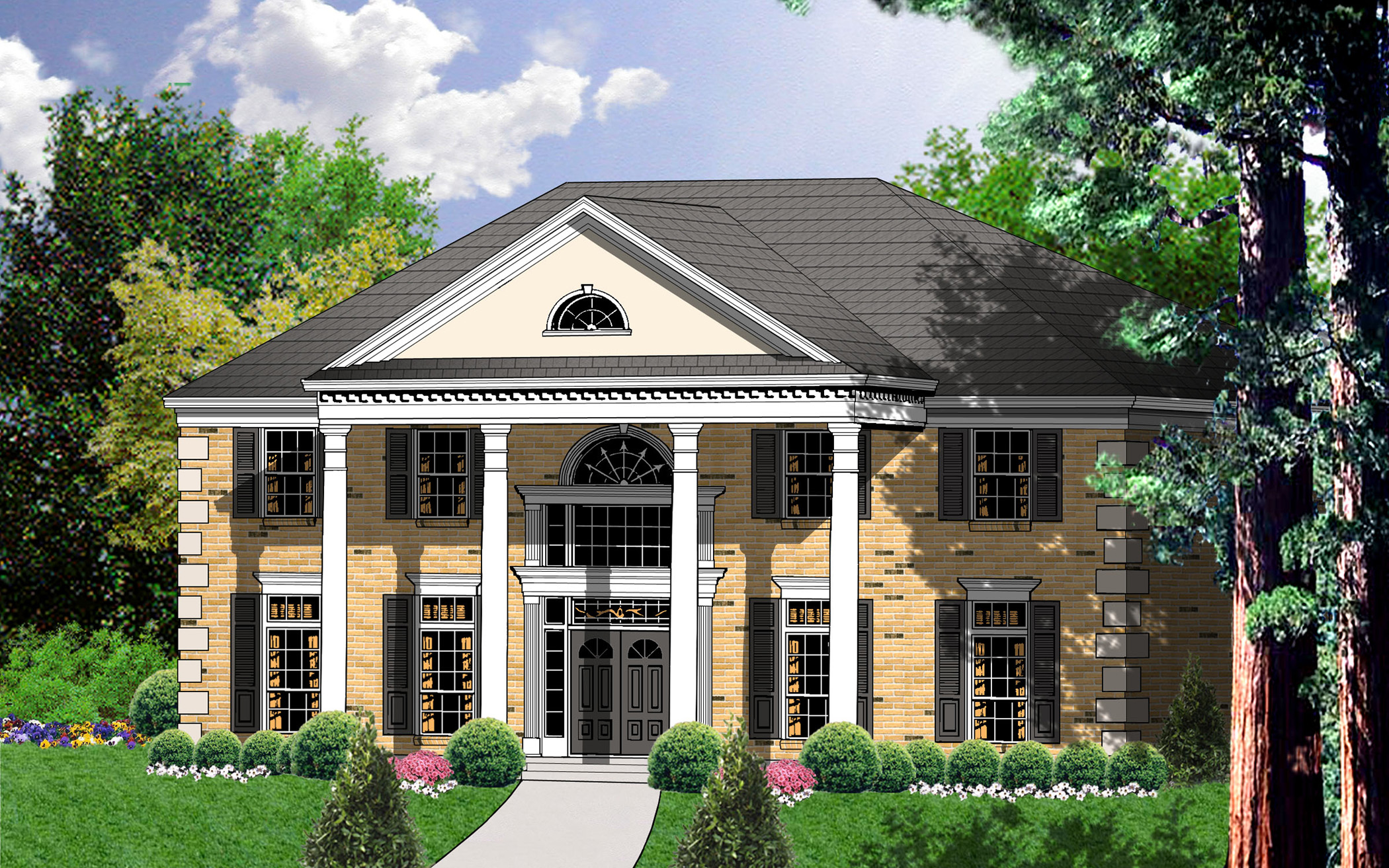 Great design with grand staircase 7459rd 1st floor Southern colonial style house plans