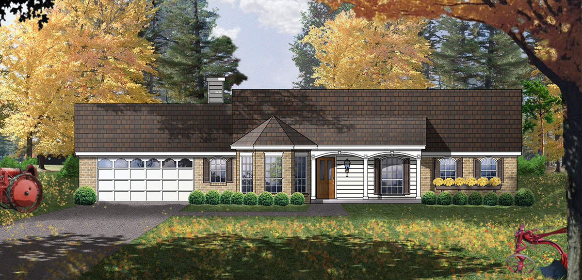 Affordable American Country Home 7472rd Architectural