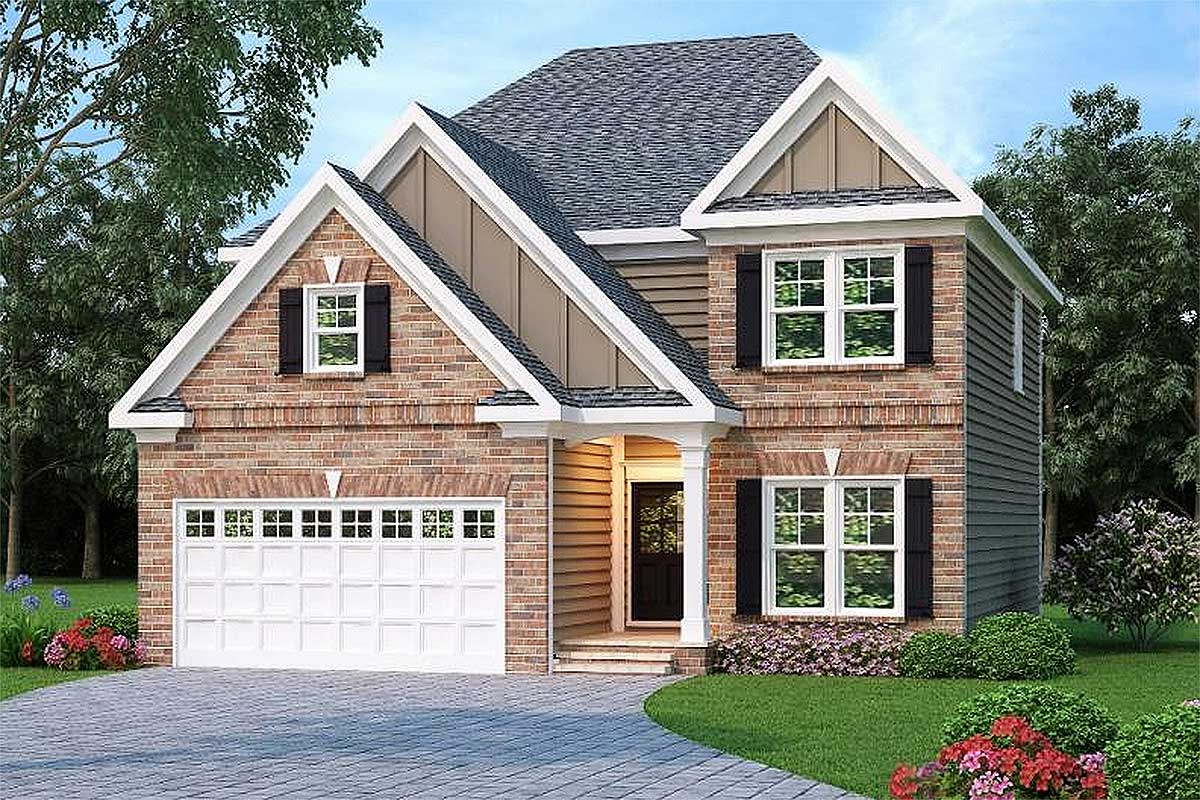 Narrow lot traditional home plan 75408gb 2nd floor for Traditional home floor plans