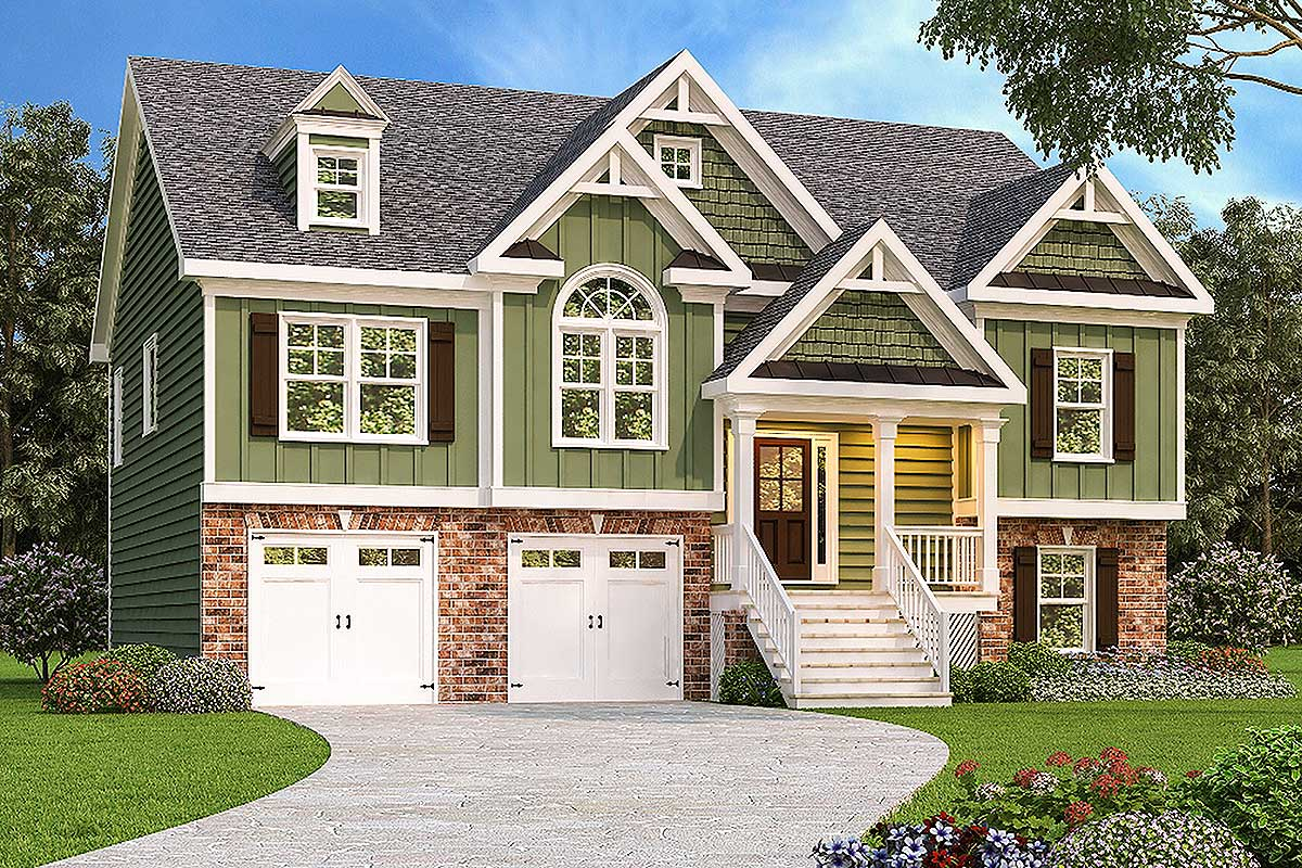Handsome split level home 75412gb architectural for Split entry house plans