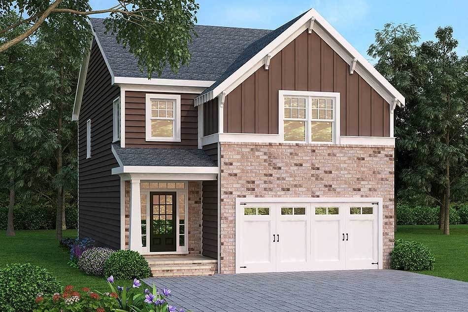 Traditional home for narrow lot 75451gb architectural for Narrow house plans with attached garage