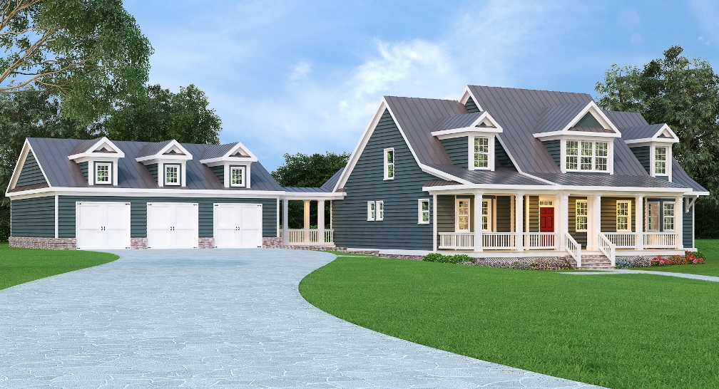 Country home with metal roof 75482gb architectural for Metal roof home plans