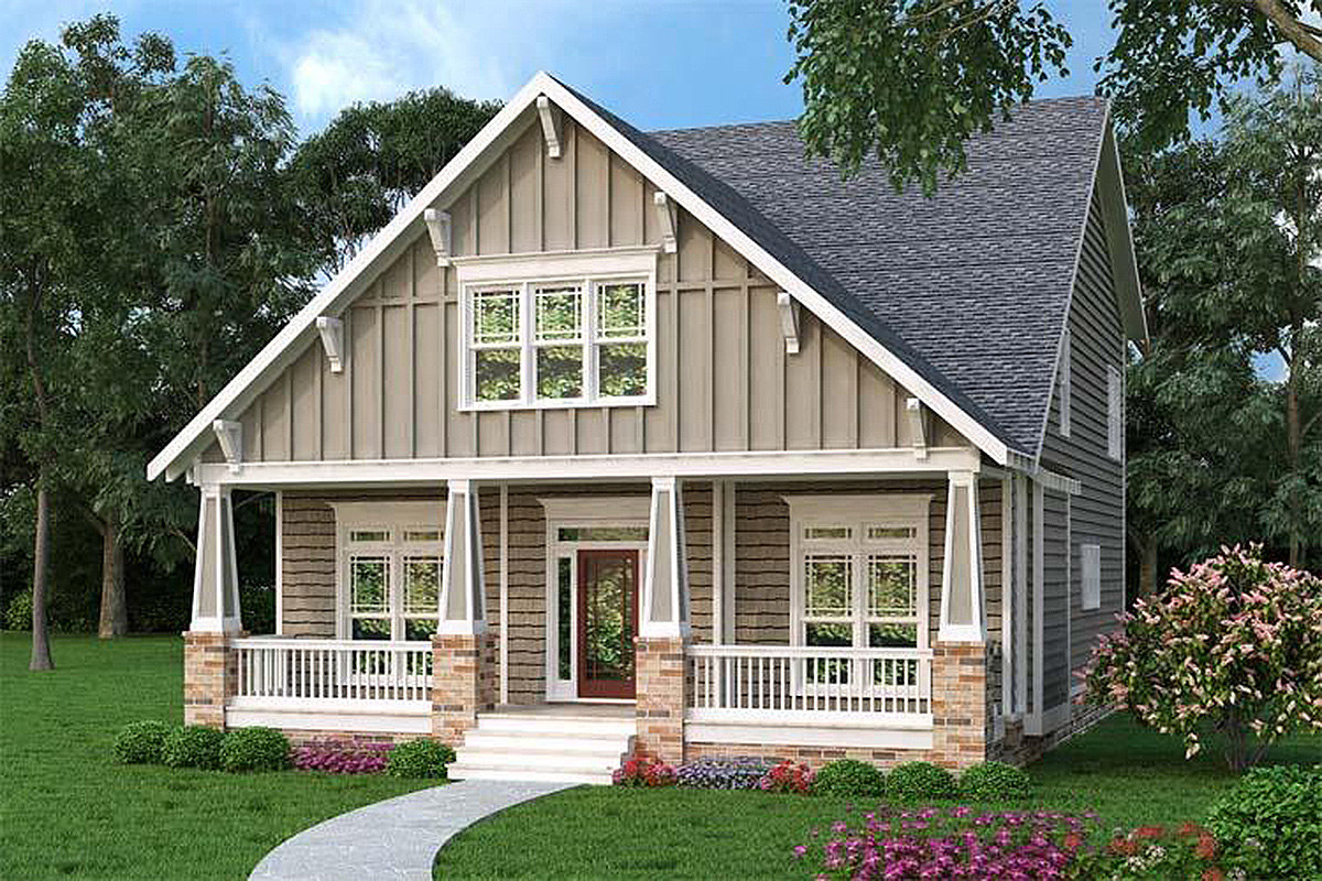 Comfortable craftsman bungalow 75515gb architectural for Craftsman bungalow designs