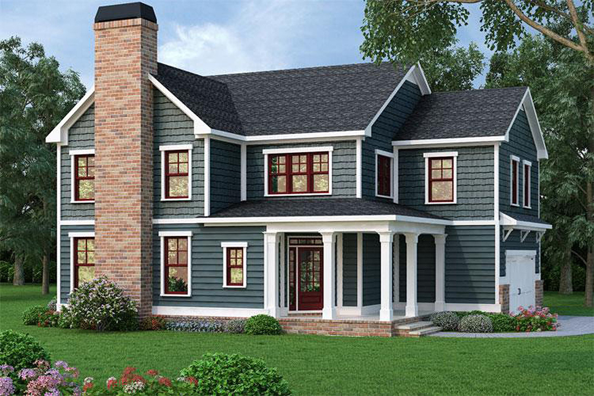 4 bed home plan with corner porch 75516gb for Corner house plans