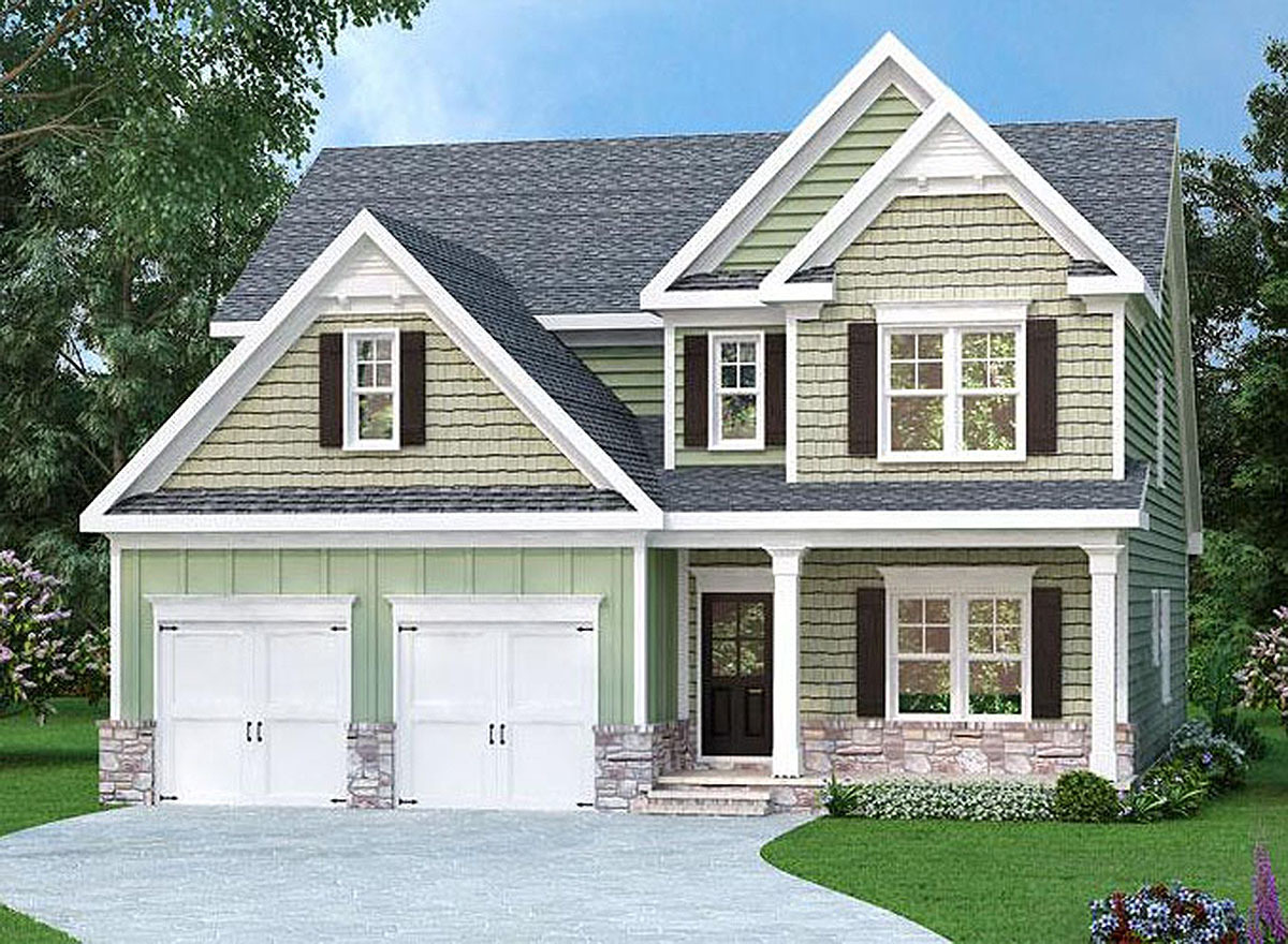 Narrow lot traditional house plan 75520gb for House plans 3 car garage narrow lot