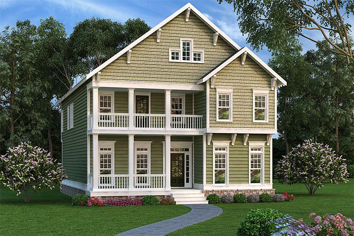 Narrow lot northwest house plan 75539gb 2nd floor for Nw home design