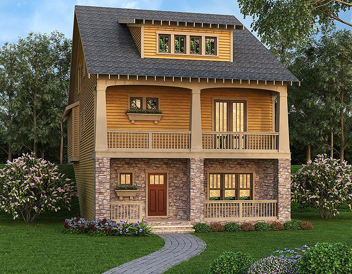 Craftsman escape for front sloping lot 75542gb for Front sloping lot house plans