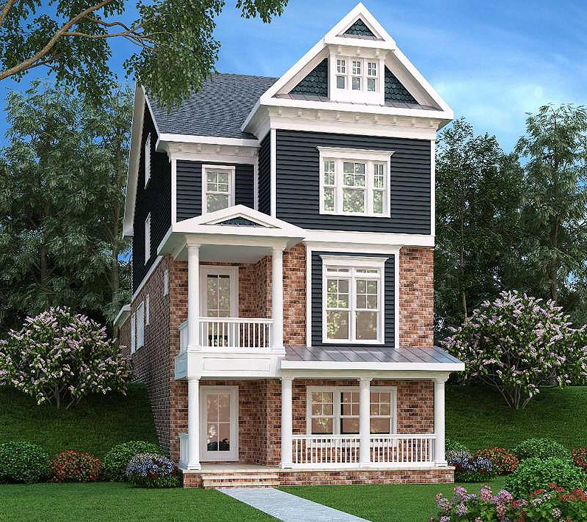 Narrow lot home 3 level living 75553gb architectural for Coastal living house plans for narrow lots