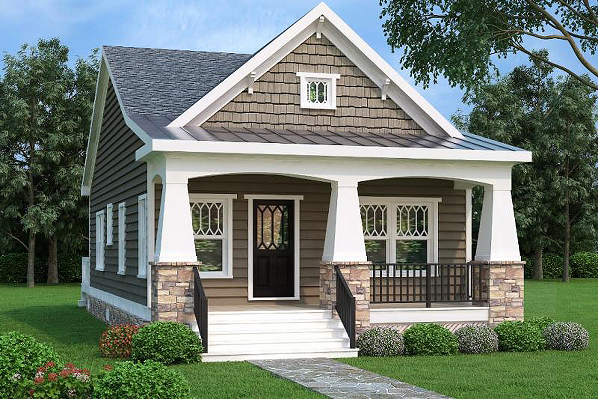 2 bed bungalow house plan with vaulted family room for Narrow floor plans with front elevation