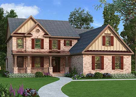 4 bed house plan with brick and board and batten 75571gb for Board and batten shutter plans