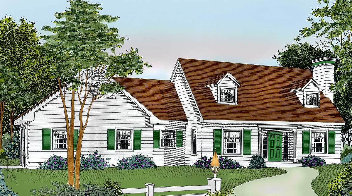 Affordable cape 7572dd architectural designs house plans for Dormered cape