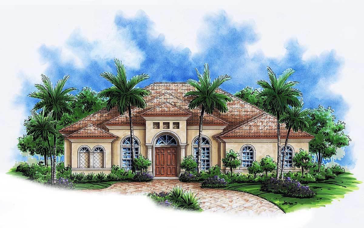 Perfect one level mediterranean house plan 76022gw for Split mediterranean house