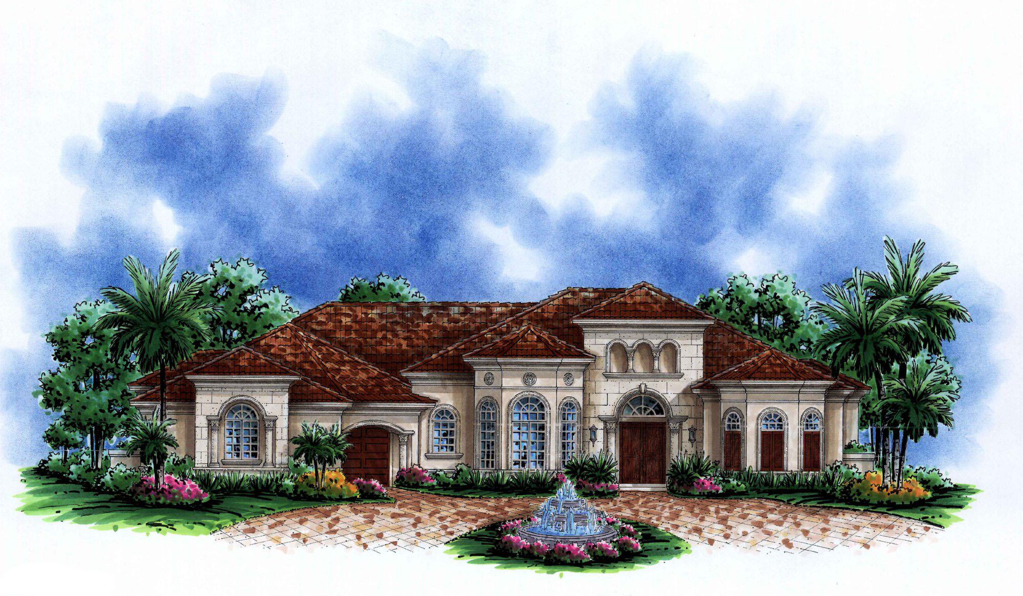 Spacious Mediterranean House Plan 76023gw 1st Floor