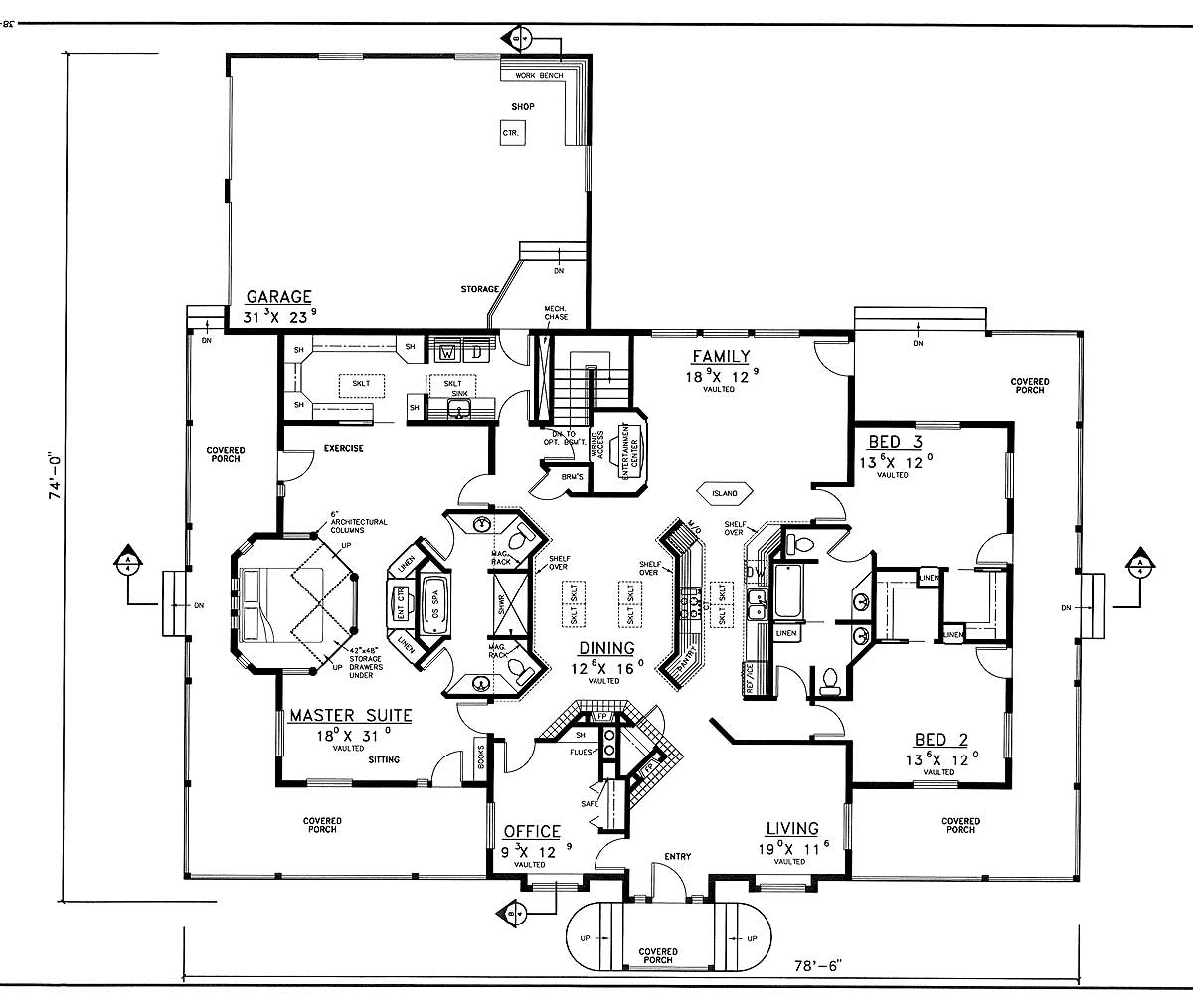 Wrap-Around Porches - 77126LD floor plan - Main Level