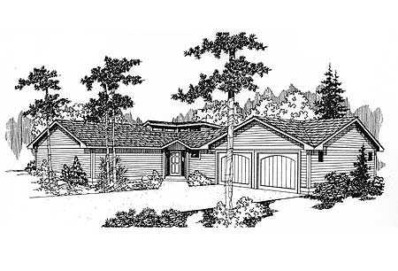 Family privacy 77136ld 1st floor master suite cad for L shaped ranch plans