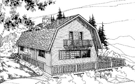 Barn shaped gambrel room 7884ld architectural designs for Small gambrel house plans