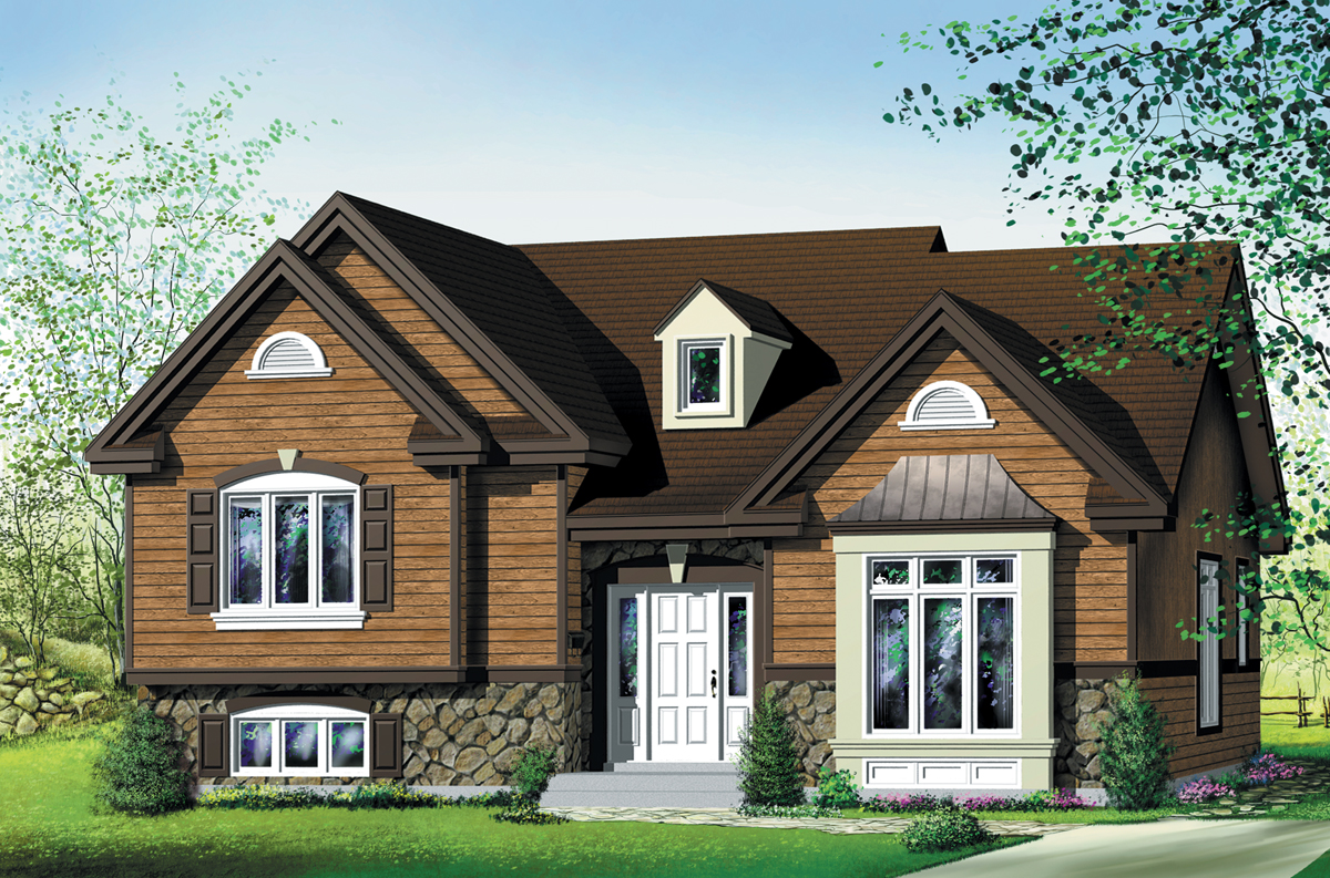 Attractive 3 bedroom split level 80019pm architectural for Split house plans