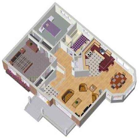Two Bedroom Bungalow 80026PM 1st Floor Master Suite CAD Available