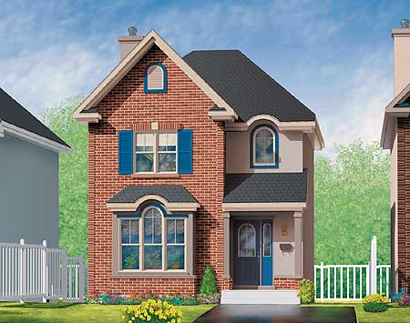 Brick house plan in two versions 80212pm 2nd floor master suite cad available canadian - Brick house plans ...