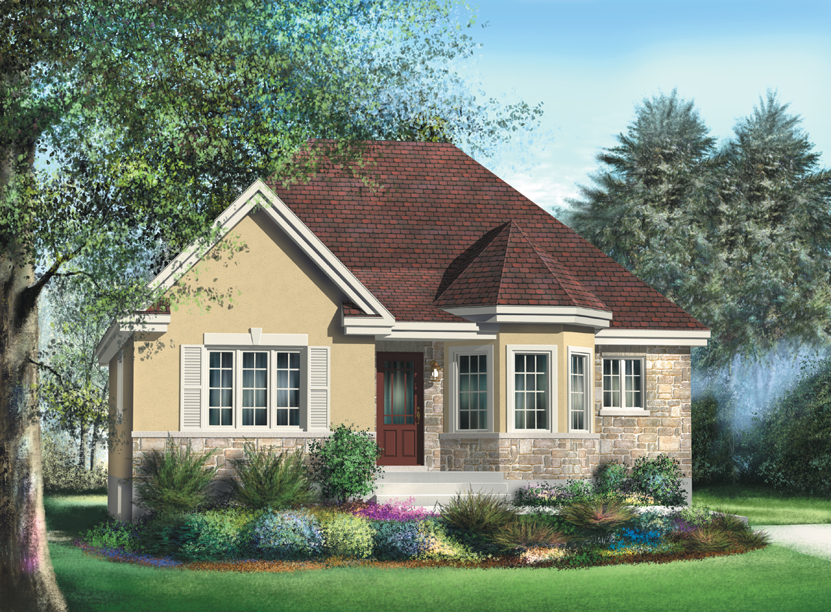 Bungalow with turret nook 80366pm architectural for House turret designs