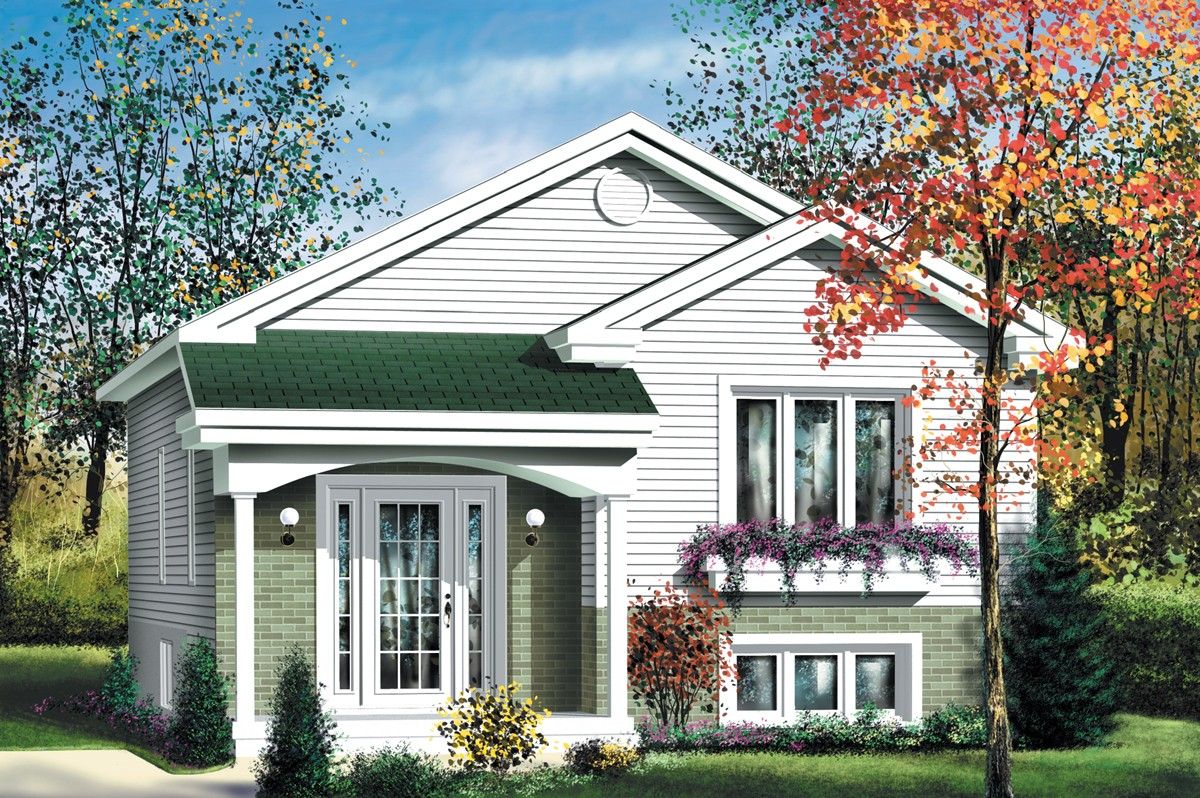 Economical split level home plan 80376pm architectural for Split house