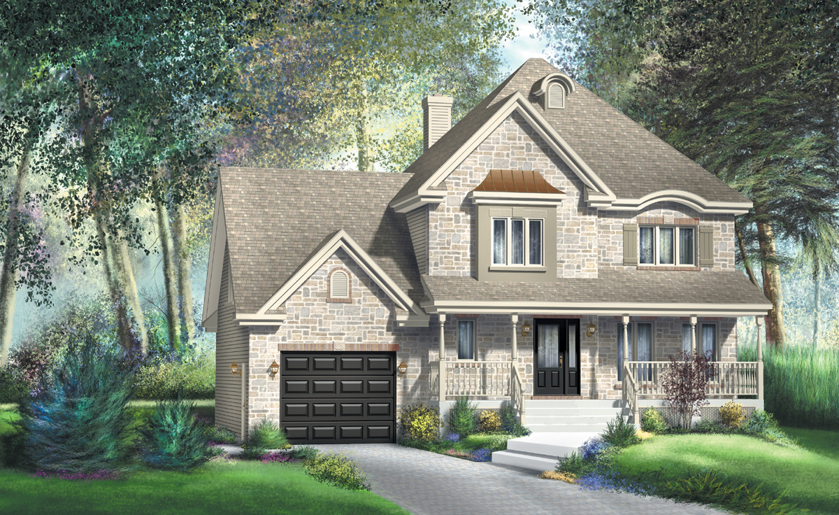 Traditional two story house plan 80431pm 2nd floor for House plans with 2 story library