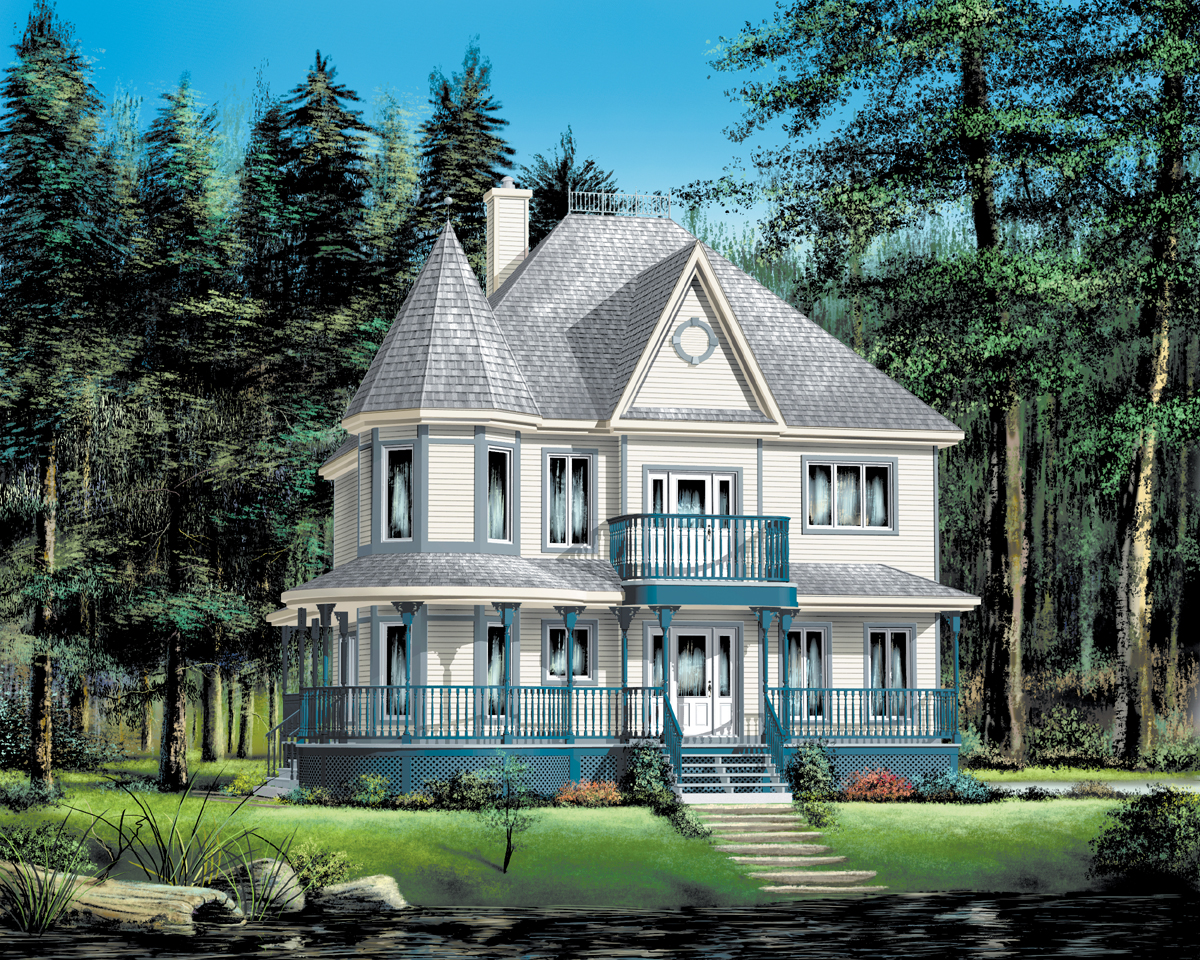 Queen anne revival with turret 80449pm architectural for Home plans with turrets
