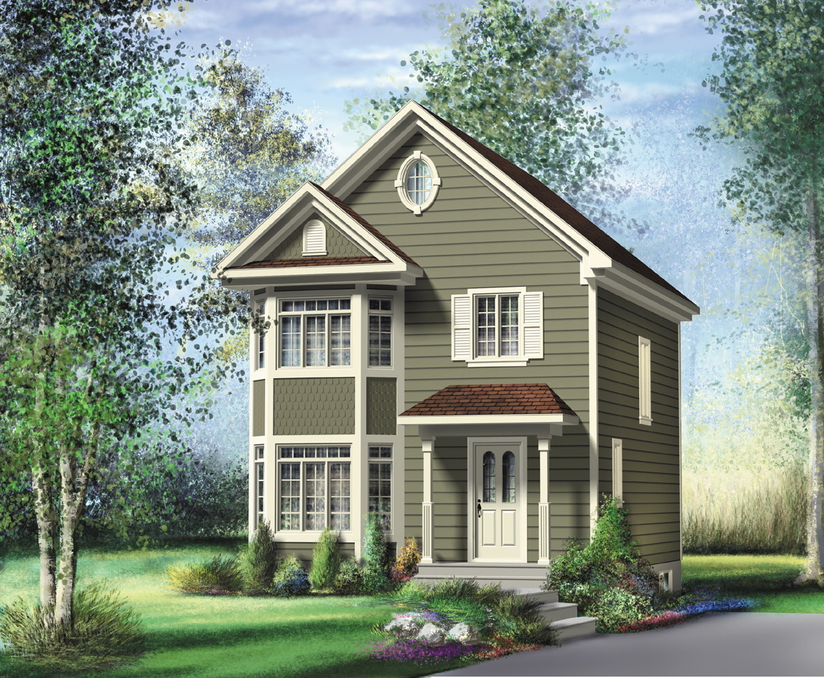 Two-Story Traditional for a Narrow Lot - 80548PM ...