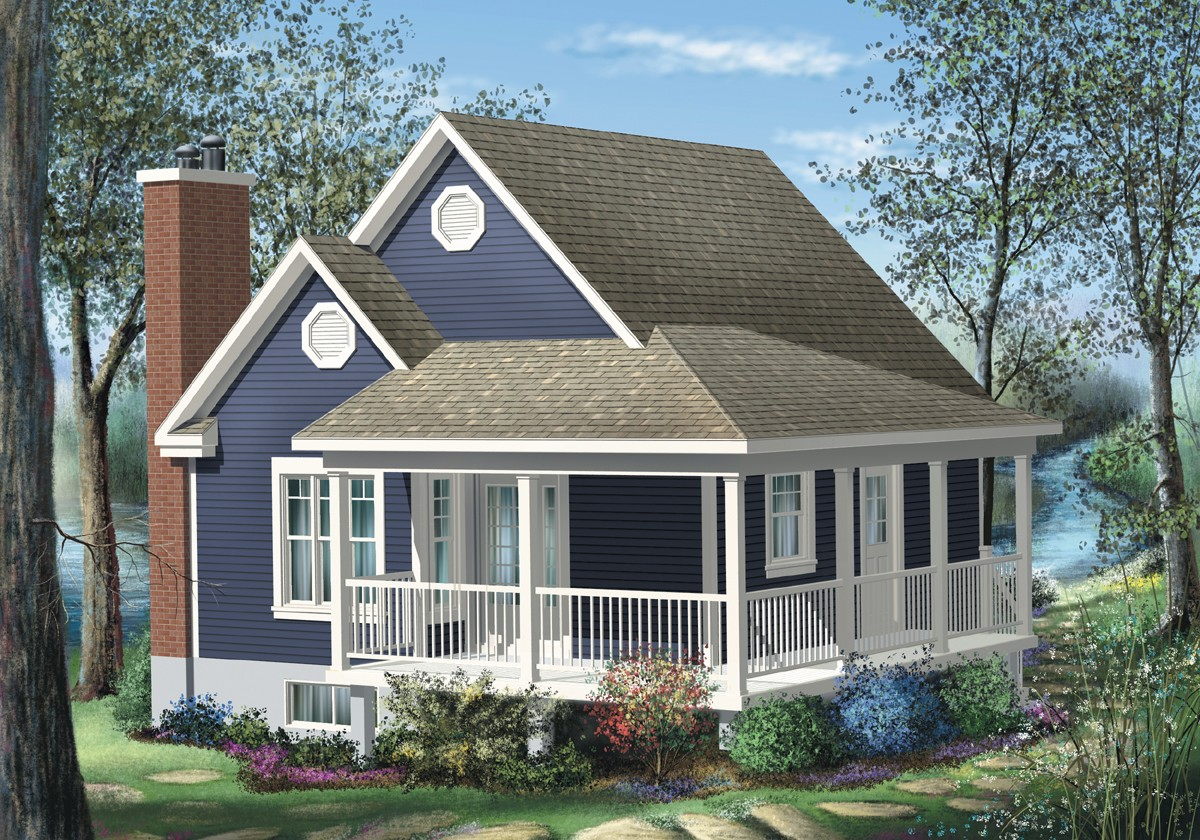 Simple one bedroom cottage 80555pm architectural for 1 bedroom cottage plans