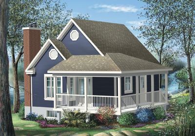 simple one bedroom cottage - 80555pm | architectural designs