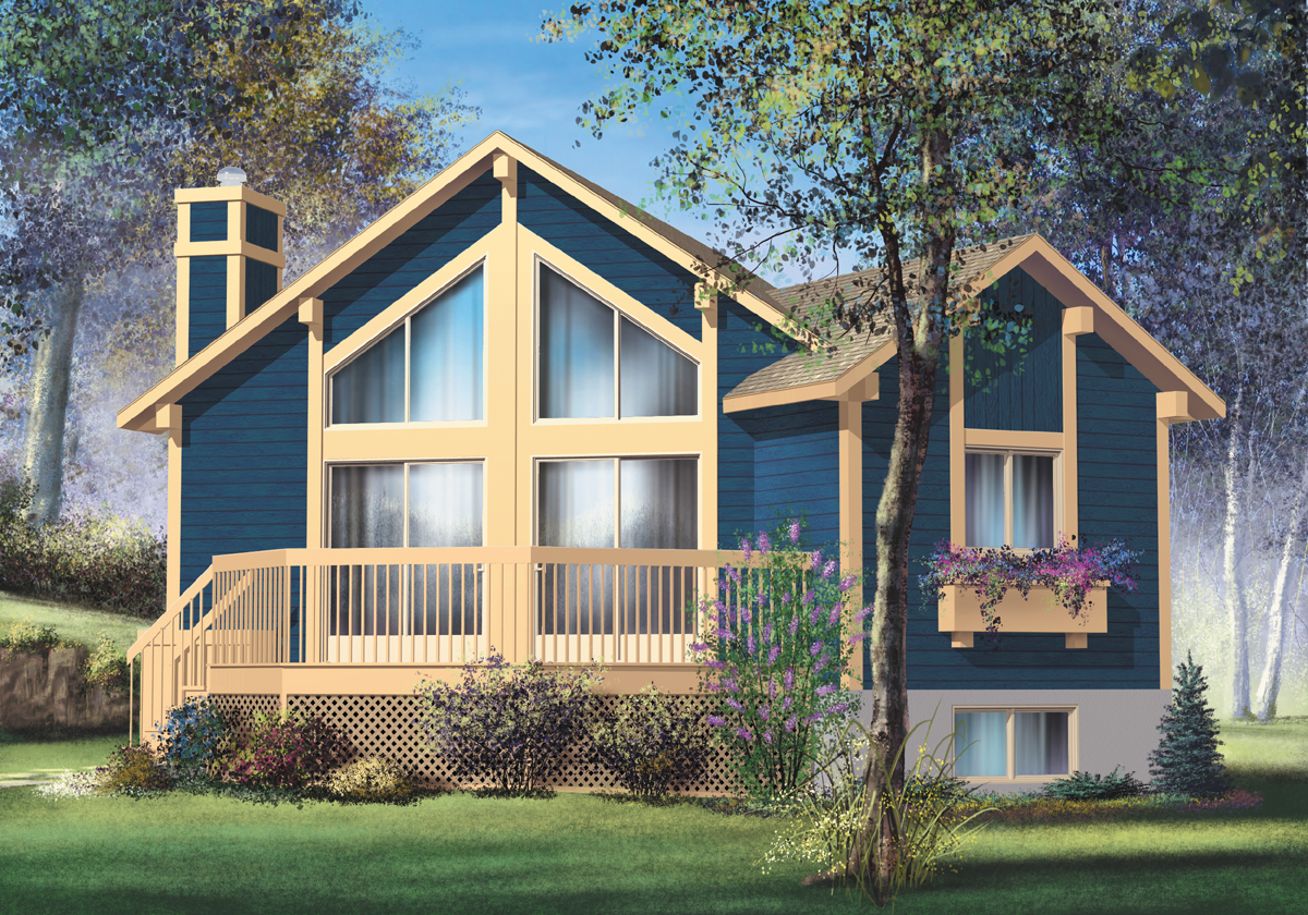 One bedroom vacation home 80557pm architectural for Vacation cabin plans