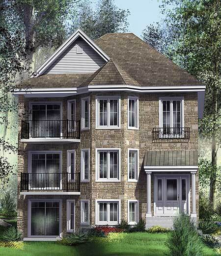 Handsome tri plex 80586pm architectural designs for Multifamily house plans