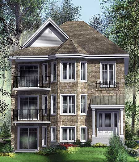 Handsome TriPlex  80586PM  1st Floor Master Suite, CAD Available, Canadian, Metric, Narrow