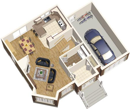 1bed room 3d home plan