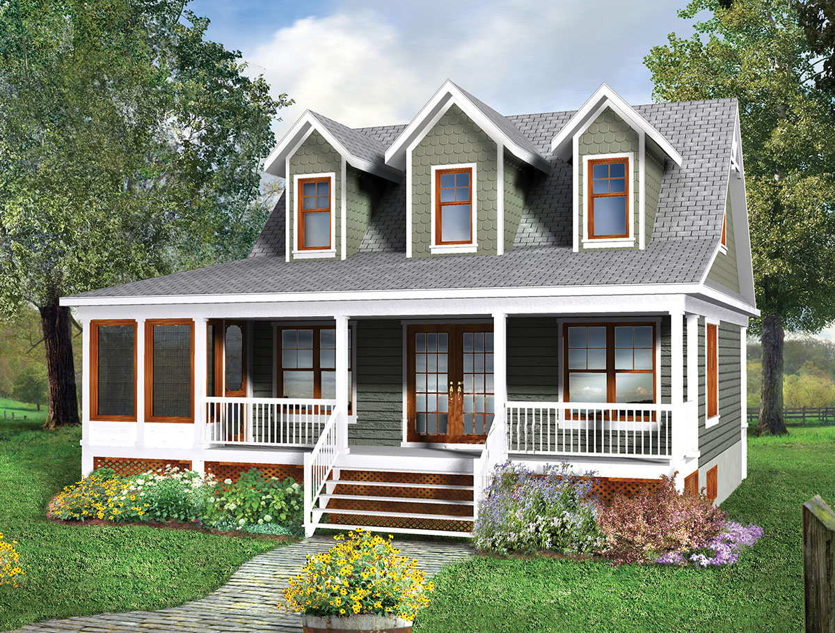 Two story cottage house plan 80660pm architectural for 2 story cabin